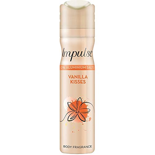 3 x Impulse Vanilla Besos Desodorante Spray, cada 75ml / Desodorante/Body Spray