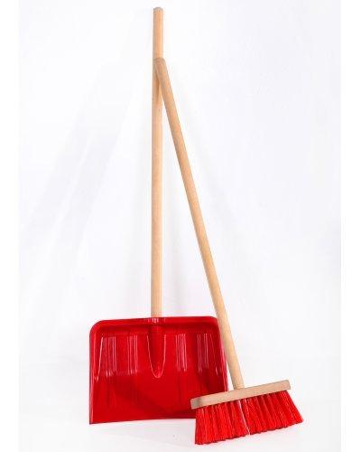 Fun Ondis24 Kinderschneeschaufel Set, rot, Stiele geschliffen, original wie die großen Besen und Schieber