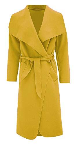 Hina Fashion Frauen-Damen Italienisch Wasserfall Belted Langarm-Mantel-Jacken-Top (One Size Fits 8-16) (Senffarben, Einheitsgröße Passend für 16-22)