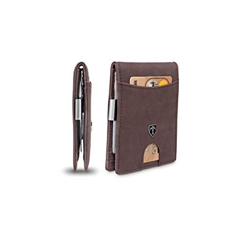TRAVANDO Money Clip Wallet Atlanta Mens Front Pocket Slim RFID Blocking - Credit Card Holder - Mini Bifold (Suede Leather, Vintage Brown)
