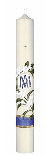 Marienkerzen 60 x 8 cm mit Lilien, Handverziert mit Wachsplatten und Wachsborden