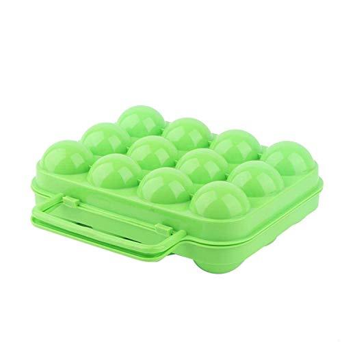Jeffergarden Äggbricka förvaringslåda fodral hållare dubbelsidig plast kylskåp behållare med handtag hållare 12 ägg grön blå orange (grön)