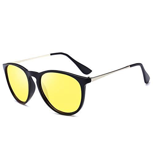 hqpaper Polarisierte Sonnenbrille Herren trendige Sonnenbrille Retro Brille Europa und Amerika-Schwarz Rahmen Nachtsicht Porno