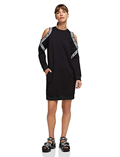 KARL LAGERFELD Womens Cold Shoulder Sweat Casual Dress, Black, XL