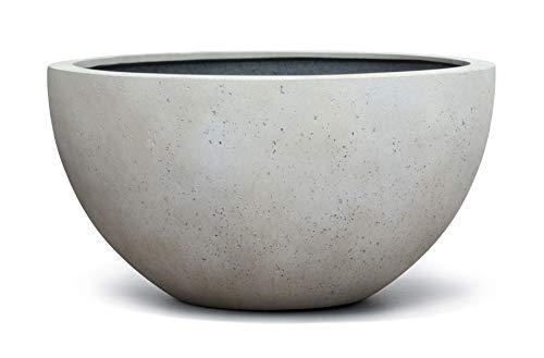 VAPLANTO® Pflanzkübel Low Egg Pot 30 Creme Weiß Schale * 33 x 33 x 16 cm * 10 Jahre Garantie