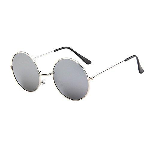 Lazzboy Frauen Männer Vintage Retro Brille Unisex Driving Round Frame Sonnenbrille Eyewear Runde Mit Schmalem Metall Gestell(H)