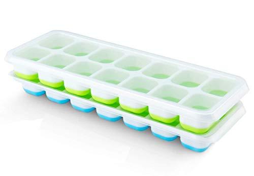 Pritogo 14-Fach Eiswürfelform [2er Pack] - Eiswürfelbehälter mit Deckel, Grün/Blau Stapelbar LFGB Zertifiziert (2er Pack)