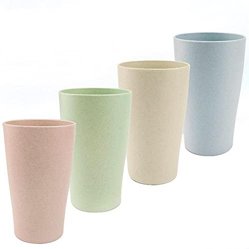 ANTHYTA 4 Stück Weizenstroh Tasse Trinkbecher 400 ml Tasse Biologisch Teetasse Unzerbrechliche Rohstoffe Becher Multifunktionale Fallfeste Tasse 4 Farben Becher Set für Wasser Kaffee Milch Saft