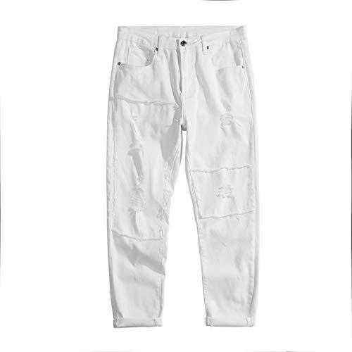 Bolsa branca Caverna Caverna Tide Menina Slim Slim orgulhoso 9 calças Elastic Leisure 2021 Verão Men's Nine Calças (Color : White, Size : 34 EU)