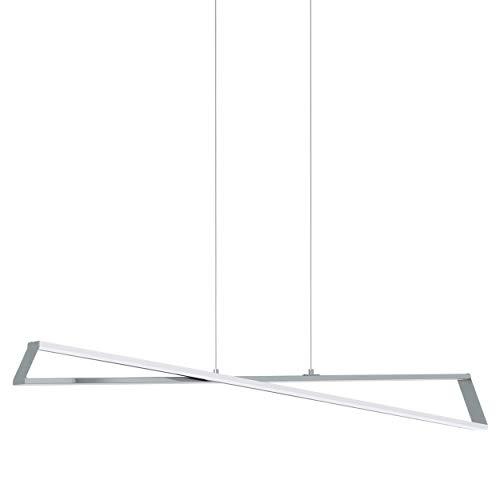 EGLO LED Pendelleuchte Agrela, 2 flammige Hängelampe, Minimalismus, Hängeleuchte aus Stahl, Aluminium und Kunststoff, Esstischlampe, Wohnzimmerlampe hängend in chrom, weiß