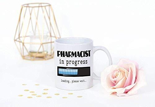N\A armacéutico en Progreso, Divertido Regalo para Estudiantes de Farmacia, Taza de café para Mujeres, Hombres, Bata Blanca, Ceremonia, Regalo para Hijo, Hija