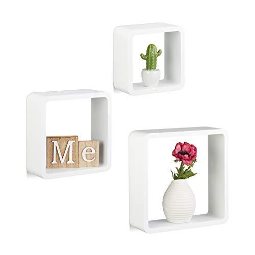 Relaxdays 10021793_49 Set 3 Mensole da Muro, Cubi da Parete, Forma Quadrata, per Cameretta, Cucina, Legno MDF, Bianco