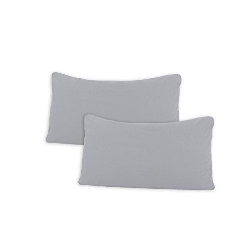 SHC Lot de 2 Housses de Coussin avec Fermeture éclair 100% Coton – 15 Couleurs et 5 Tailles 40x60 cm Argent/Gris Clair