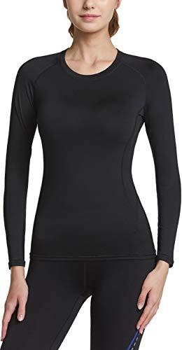 TSLA - Maglia termica a compressione per sport invernali, a maniche lunghe, con fodera in pile, da donna Xud54 1pack - Black M