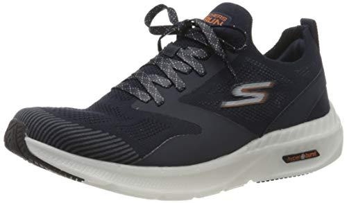 Skechers Herren Go Run Hyper Burst Sneaker, Marineblaues Textil-Synthetik; orangefarbener Rand, 42 EU