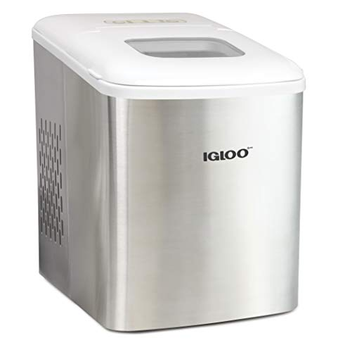 Igloo ICEBNH26SSWL Steel Automatic Self-Cleaning Portable Electric Countertop Ice Maker Machine, 26 Pounds in 24 Hours, 9 Cubes Ready in 7 minutes, With Scoop and Basket, Stainless White