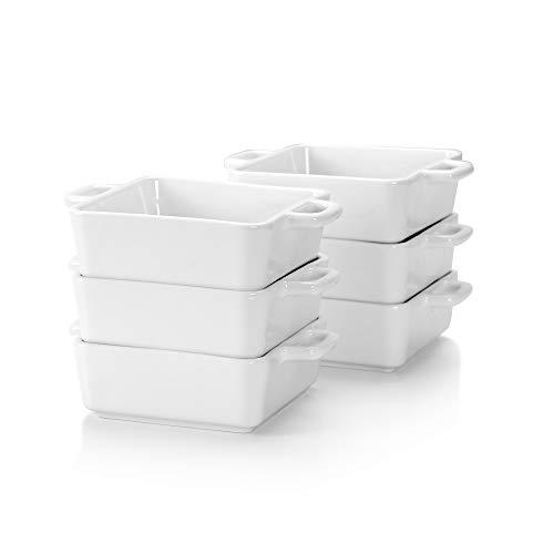 LOVECASA Fuente para Horno Pastelería, Juego de 6 Piezas 220ML Moldes para Hornear de Porcelana Esmaltados para Tartas, Lasaña, Pastel, Soufflé 13CM