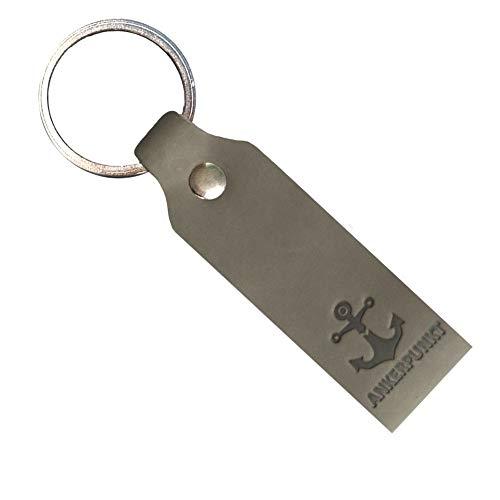 Ankerpunkt Schlüsselanhänger Leder mit Gravur Anker - Geschenke für Frauen Männer - Made in Germany (Grau)