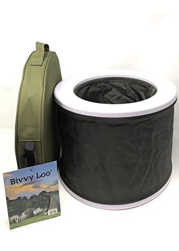 Bivvy Loo + Deckel - Tragbare Camping WC -Campingtoilette - Festival WC - Angeln Toilette - Outdoor Camping WC - Falten weg Wohnung - Unterstützt über 150kg - Camping Toilette - Portable Toilette