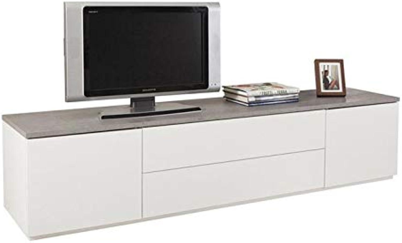 Mbel Akut Lowboard Privilegio TV Unterschrank wei Hochglanz Beton grau Push-to-Open 200cm breit