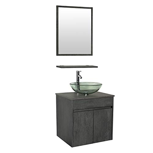 """eclife 24"""" Bathroom Vanity Sink Combo Wall Mounted Concrete Grey Cabinet Vanity Set Round Clear Tempered Glass Vessel Sink Top, W/Chrome Faucet, Pop Up Drain & Mirror (A16E03CC)"""