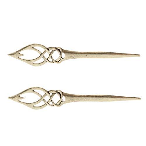 Hellery 2X Bronze Wirkinger Haarnadel, Haarstab, Hairpin, Haar Stab Stäbchen, Haargabel, Haarspange für alle Haartypen