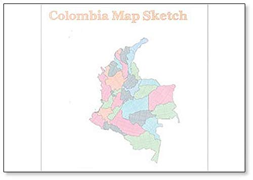 Colombia Map Sketch Illustration Koelkast Magneet