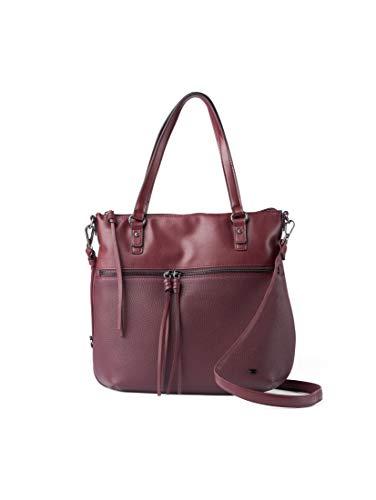TOM TAILOR Shopper Damen, Tanya, Rot (Dunkelrot), 33.5x30x10 cm, TOM TAILOR Schultertasche, Handtaschen Damen