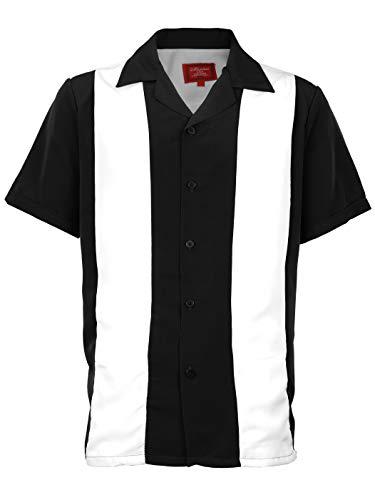 Maximos Men's Retro Charlie Sheen Two Tone Guayabera Bowling Casual Dress Shirt White/Black