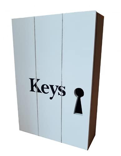 Moderno armario de madera para colgar, tamaño: 25 x 17 x 6 cm, muy macizo, para guardar llaves, armario de pared, armario de llaves (variante 3)