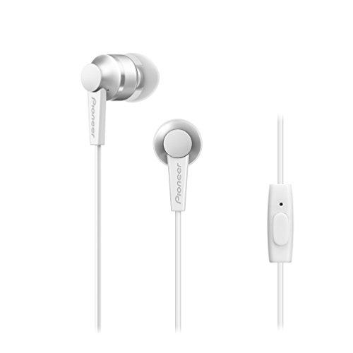 Pioneer SE-C3T(W) Cuffie In-Ear (corpo in alluminio, pannello di controllo, microfono, cuffia in silicone, leggero e compatto, design industriale, per iPhone, smartphone Android), bianco alpino