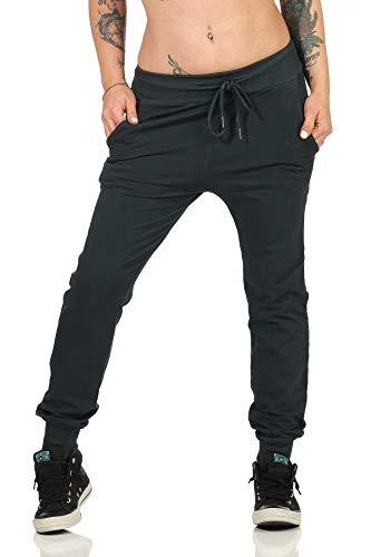 Damen Sporthose Freizeithose Yogahose | Casual Basics mit Bündchen Lang und Taschen | Super Weich und Bequem (500) (L, Grau)
