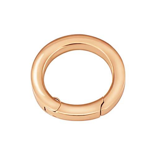 Quiges Clip Ring Carrier Roségold 22 mm Edelstahl Verbindungsring für Kette und Coin Anhänger mit Karabiner Haken Verschluss