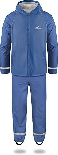 Kinder Kids Regenanzug für Jungen + Mädchen in einzigartigen Kontrastfarben - Wassersäule: 5000 mm - Absolut Wind- und Wasserdicht für Schule, Kindergarten oder Freizeit Farbe Hellblau Größe M-134/140