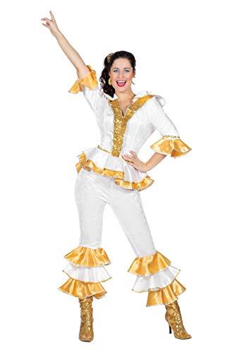 TH-MP Disco Queen Popstar - Disfraz de mujer de los años 70, camisa para hombre, carnaval, fiesta temática, disfraz de pareja (disfraz para mujer, talla 42)
