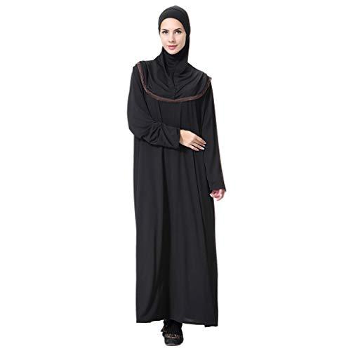 Lazzboy Muslimischen Maxikleid Trompetenärmel Abaya Lange Kleider Tunika Gürtel Frauen Muslimische Dubai Kaftan Marokkanischen Moslemisches Kostüm Kleidung Langarm(Kaffee,M)