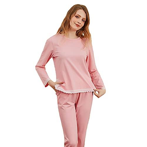 Conjunto De Pijamas para Mujer - 100% Algodón Pijamas para Mujer Pjs Top De Manga Larga Y Pantalones Ropa De Dormir De Dos Piezas Ropa De Dormir Suave,Rosado,L
