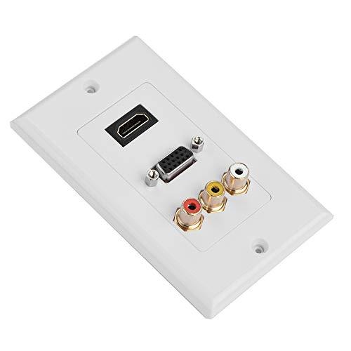 Esenlong 3 en 1 multi-nivel de protección multimedia toma de pared HDMI- compatible con VGA RCA puertos Multimedia Panel para TV de pantalla plana montado en la pared