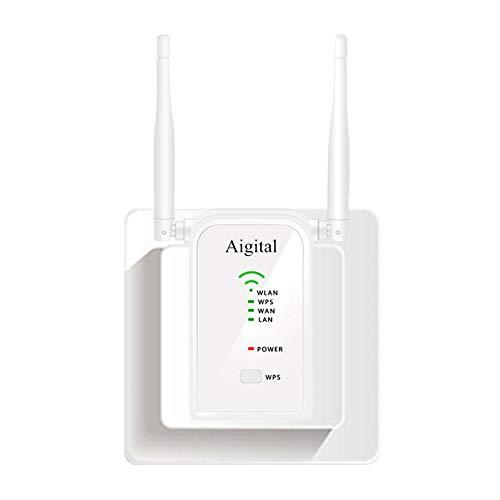 Aigital Enrutador inalámbrico 300 Mbps de Velocidad WiFi, Repetidor Extensor de Red WiFi Punto Acceso(Dos Antenas 5 dBi, Modo Multi, fácil de Usar, 3 Puertos LAN/WAN, WPS, EU Enchufe)