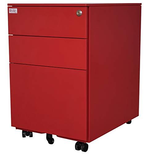 Jet-line Stahl Rollcontainer Schubladenelement Metall 3 Schubladen (Rot)