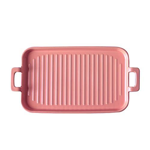 1 Piece Bakeware Creative Binaural Ceramic Baking Pan Baking Sheet Pink