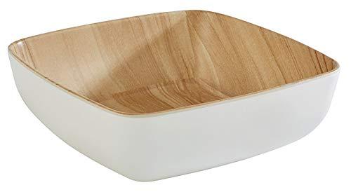 """APS """"Frida"""", nahezu unzerbrechliche Melamin Schale, stabile Kunststoff Schüssel, 16,5 x 16,5 x 5,5 cm, Müslischale, Salatschüssel, stapelbar, innen Holzoptik, außen weiß, spülmaschinengeeignet"""