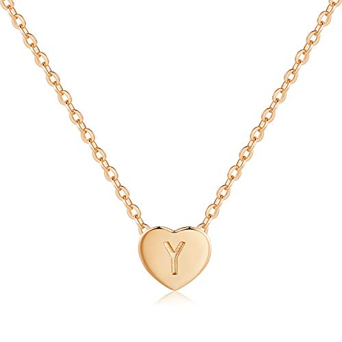 CDE Tiny Gold Initial Heart Necklace 925 Sterling Silver Letter Necklace Rose Gold Personalized Letter Heart Choker Necklace ChristmasJewelry Gift Birthday Gift for Mom Women Wife Girls Her