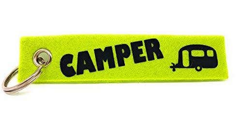 """Schlüsselanhänger aus Filz """"Camper"""" und einem Wohnmobil, Wohnwagen oder Zelt. Die zweite Seite kann individuell gestaltet werden."""