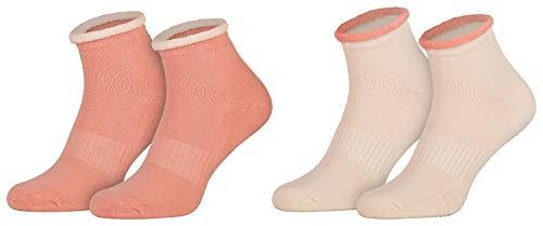 2 Paar ABS Haus-Socken Frauen Damen Bettsocken Halbfrottee Kuschelsocken Anti-Rutsch Sohle Creme Rosa 39 40 41 42