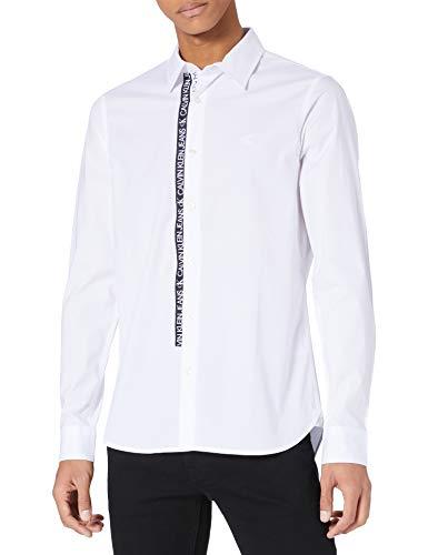 Calvin Klein Jeans Logo Tape Shirt Camisa, Blanco Brillante, XS para Hombre