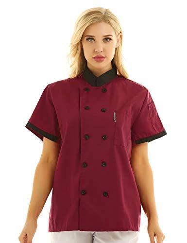 iEFiEL Unisex Giacca da Cuoco Divisa Chef Uniformi per Cucina Ristorante Mensa Hotel Camicia per Cameriere Casacca Cappotto a Manica Corta per Uomo Donna M-XXXL Rosso B L