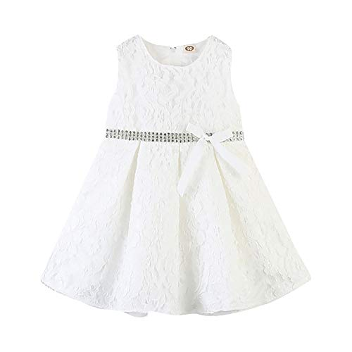 Gyratedream zomer casual mode baby meisjes bow-knopen mouwloos kant prinses jurk kinderkleding Small wit