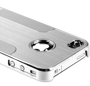 2010kharido Luxury Steel Aluminum W/Chrome Snapon Hard Cover Case for iPhone 4 4S 4G Silver