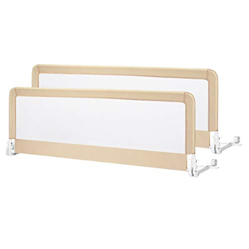 Costzon Double Sided Bed Rail Guard, 2 Pack, Extra Long Swing Down Safety Guard w Straps for Toddler Convertible Crib, Folding Baby Bedrail for Kids Twin Double Full Queen King Mattress, Beige,59 Inch